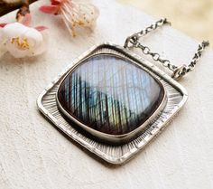 Web of Light Eye Catching Labradorite in Silver by EONDesign Circle Pendant Necklace, Necklace Sizes, Dainty Necklace, Simple Necklace, Gold Necklace, Great Gifts For Mom, Gifts For Her, Sterling Silver Chains, Silver Jewelry