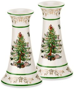 Decorate your home this holiday season with the warm elegance of the Christmas Tree Gold Collection from Spode. This set of two porcelain candlesticks make a perfect finishing touch for your dinner table. Glass Votive Holders, Wood Candle Holders, Candle Holder Set, Candlestick Holders, Christmas China, Spode Christmas Tree, Christmas Dishes, Christmas Ideas, Christmas Crafts