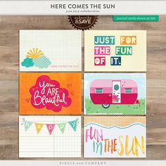 Here Comes the Sun Everyday Life Journaling Cards | June 2015 at Pixels and Company {part of a larger collection}