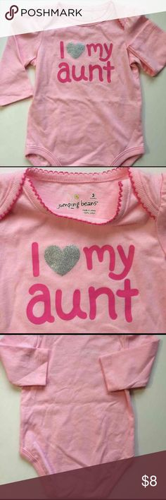 "‼️Reduced 🆕Jumping Beans Pink Onesie ""I ❤️my Aunt "" Pink Onesie, size 3 months, long sleeves, New without tags!! Just Adorable!🎀 Jumping Beans One Pieces Bodysuits"