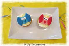 Silvia's Tortenträume: Mandel-Cupcakes mit Zitronen-Creme & Eulen-Deko... sehr lecker... Rezept & Anleitung Tutorial Eulen Fondant