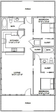 2 Bedroom Floor Plans, Small House Floor Plans, Apartment Floor Plans, Modern House Plans, 2 Bedroom House Plans, Cabin House Plans, Cabin Floor Plans, Tiny House 2 Bedroom, 2 Bedroom House Design