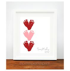 Valentines Day Gift for New Dad Red & Pink  Baby Footprint Hearts - Valentine Decor, Decoration - New Grandma Personalized Gift. $30.00, via Etsy.