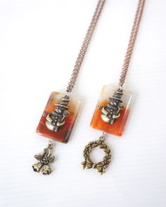 Snowman Necklace with Sunset Agate Stone Slab and Snowman Charm, Mistletoe Bell and Christmas Wreath, Christmas Gift Necklace, FREE SHIPPING...