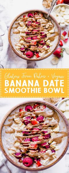 This Banana Date Smoothie Bowl (or smoothie) is a creamy and sweet treat that tastes like ice cream but is simple and healthy enough for breakfast thanks to a secret veggie that's snuck in there. Make yourself a bowl of this paleo and vegan banana date go Smoothie Bowl Vegan, Best Smoothie, Smoothies Vegan, Smoothies Detox, Date Smoothie, Apple Smoothies, Easy Smoothies, Smoothie Recipes, Smoothie Bar