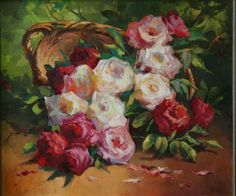 Roses in basket, artist Kozlov Dmitry