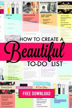 """How to Create a Beautiful 'To-Do"""" List - Are to-do lists boring you to death? Do you find yourself jotting down on post-its and notebook paper, only to never look at them again? Are you sick of the lackluster and boring designs that other programs provide for to-do lists? I have found a little-known tool that's going to blow your mind. Click for free video training!"""
