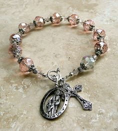 Genuine Pink AB Swarovski Crystal Antique Silver St.Joseph Rosary Bracelet