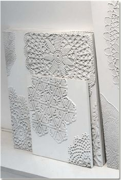 Dishfunctional Designs: Vintage Lace & Doilies: Upcycled and Repurposed. Doilies on canvas and painted white. Fun Crafts, Diy And Crafts, Arts And Crafts, Diy Projects To Try, Craft Projects, Craft Ideas, Lace Doilies, Doily Art, Doilies Crafts
