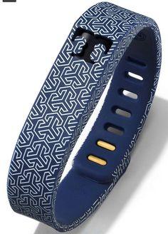 NWT Tory Burch for Fitbit® Silicone Printed Bracelet Navy Blue Shiny Brass in Jewelry & Watches, Fashion Jewelry, Bracelets | eBay
