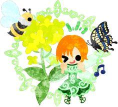 春のフリーのイラスト素材可愛い妖精と綺麗な菜の花と蝶と蜂  Free Illustration of spring Pretty fairy and beautiful brassica and butterfly and bee   http://ift.tt/2mHK8F4