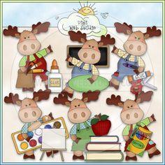 Little Moose Goes To School 1 - NE Cheryl Seslar Clip Art