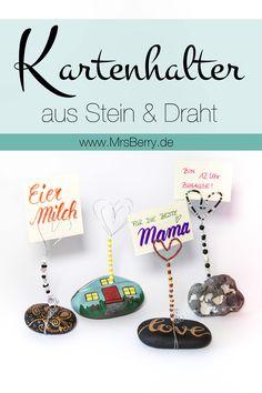 Eine hübsche Geschenkidee zum Muttertag sind diese selbstgemachten Kartenhalter aus Steinen & Draht :) | www.mrsberry.de DIY