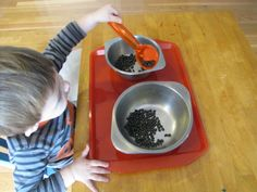 Lessons for toddlers - Montessori transferring beans