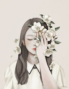 Learn To Draw Manga - Drawing On Demand Korean Illustration, Illustration Girl, Portrait Illustration, Art Illustrations, Digital Illustration, Art Vintage, Vintage Posters, Art Simple, Girls With Flowers