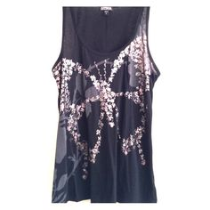 Black Expeess tank top Black express tank top with silver butterfly and beaded embellishment. Express Tops Tank Tops