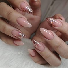 Nails on X-Power Makeup Natural amp; Grace Glitter Gel jet_set_beauty_nails : B.Nails on X-Power Makeup Natural amp; Pink Glitter Nails, Pink Nail Art, Pink Manicure, Glitter Art, Nail Glitter Design, Gold Tip Nails, Sparkly Nail Designs, Almond Nails Designs Summer, Sparkle Acrylic Nails