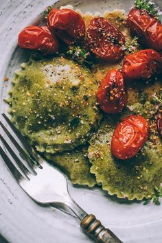 Grain Free Chickpea Ravioli with Dairy Free Almond Ricotta Filling! Recipe is way easier than most handmade pasta, you don't need a pasta maker.