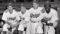From left, Brooklyn Dodgers baseball players John Jorgensen, Pee Wee Reese, Ed Stanky and Jackie Robinson, 1947.