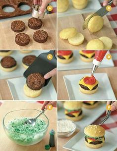 EASY CHEESEBURGER CUPCAKES....such a fun idea for Summer gatherings! Love this...what do you think? Featured on our Best Cupcake Ideas! http://kitchenfunwithmy3sons.com/2016/06/best-cupcake-ideas.html/