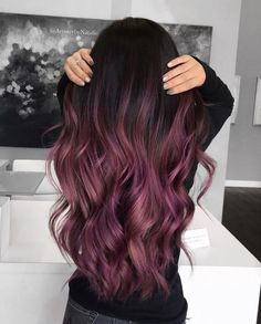 30 hair color trends should try in 2019 13 - Hair - Hair Styles 30 Hair Color, Hair Dye Colors, Ombre Hair Color, Hair Color Balayage, Purple Ombre, Purple Balayage, Short Balayage, Burgundy Hair Ombre, Dyed Hair Ombre