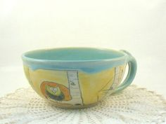 Blue Ceramic Latte Cup or Soup bowl with by BlueSkyPotteryCO, $40.00