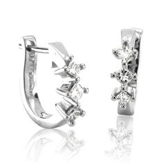 1/4 carat 3 Stone Princess Cut Diamond Huggies Hoop Earrings in 14k White Gold(HI, I1-I2)