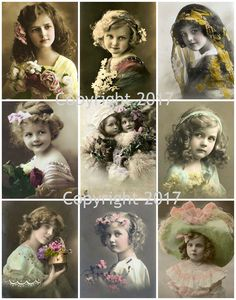 Vintage Children Photo Images #107 Printed Collage Sheet 8.5 x 11""