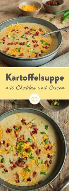 Sämige Kartoffeln treffen im Suppentopf auf würzigen Cheddar. Gemeinsam mit kr… Creamy potatoes meet spicy cheddar in a soup pot. Together with crispy bacon, they become a creamy potato soup with a crispy effect. Potato Bacon Soup, Cheddar Potatoes, Queso Cheddar, Creamy Potato Soup, Bacon Bacon, Creamy Cauliflower, Bacon Recipes, Soup Recipes, Chicken Recipes