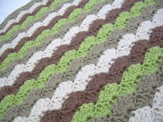Crochet Baby Blanket in Earth Tones, Off White, Khaki, Green, and Brown, Variation on shell stich