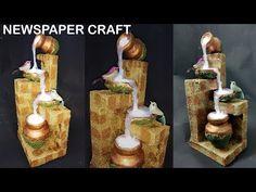 How to make newspaper waterfall showpiece | newspaper craft - YouTube