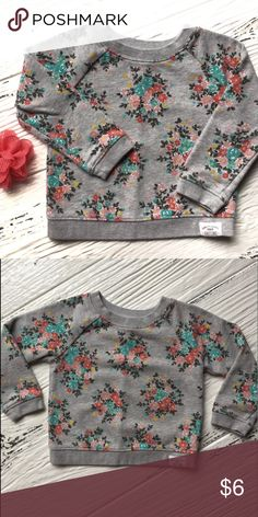 Carter's Flower Sweatshirt Cute flower sweatshirt, Carter's size 24M.  This runs a bit shorter in the length than other Carter's sweatshirts, could be used as 18M.  Well loved, some pilling and light fading, but still super cute. Carter's Shirts & Tops Sweatshirts & Hoodies