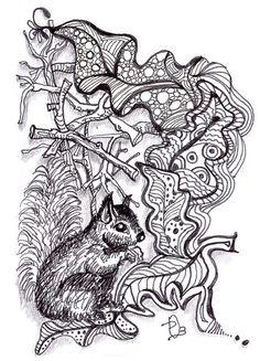 Black Squirrel Zentangle by dobriendesign, via Flickr