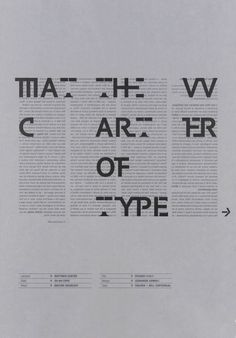 "garadinervi: "" Leonardo Sonnoli, Matthew Carter: the art of type, 1999 "" Typography Fonts, Typography Design, Type Design, Graphic Design, Matthew Carter, Typo Poster, Type Treatments, Book Posters, Ms Gs"