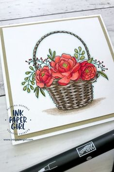 Stampin' Up! Blossoming Basket Sale-A-Bration Stamp Set, Which Black Ink should I use? Colouring Guide, Ink Paper Girl with Katrina Duffell Independent Stampin' Up! Demonstrator Sydney Australia, Stampin' Up! Watercolour Pencils & blender pens