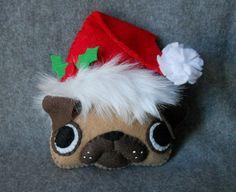 Christmas Pug Gift Tag or Tree Ornament Dog Ornaments, Felt Christmas Ornaments, Christmas Crafts, Felt Diy, Felt Crafts, Pugs, Diy Adornos, Dog Tree, Pug Christmas