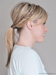 easy pony with a braid for medium hair
