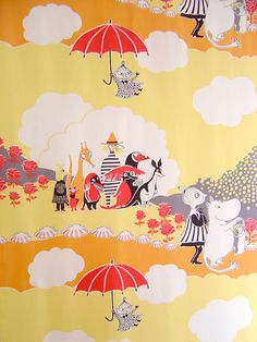 The pattern is from an original illustration by Tove Jansson for her Moomin books. Moomin Valley, Tove Jansson, Children's Book Illustration, Cartoon Drawings, Fabric Patterns, Art Lessons, Illustrations Posters, Painting & Drawing, Colours