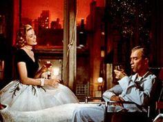 """James Stewart & Grace Kelly in """"Rear Window"""" by Alfred Hitchcock"""