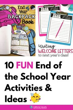 The end of the school year is near! Do you have your last day/week activities all planned out for your class?! If not, we're here to help. Whether you want to stick to schoolwork and reviewing or you want to plan something a little more exciting for your kids, you'll love these 10 fun and easy activities and ideas to end the school year with your class. End Of Year Activities, Fun Activities, Make A Graph, Casualty Insurance, Bingo Sheets, Welcome Letters, Award Certificates, Opinion Piece, Last Day Of School