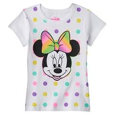 Disney's Minnie Mouse Girls 4-6x Glitter Polka-Dot Tee