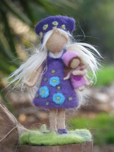 Needle felted waldorf inspired girl with doll by Made4uByMagic, $58.00