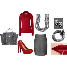 red and gray ..... Wish I would dare to wear the red lips!