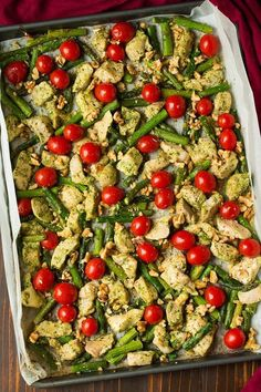 Quick and easy sheet pan meal that's packed with fresh pesto flavor! A healthy, protein filled chicken dinner that will leave you craving more!