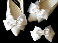 Shop for Satin Big Bow Pearl Shoe Clips Shoe Ornaments Shoe Ribbon Charm Accessory (White) - White - Discover the newest styles Hair Clips up to off. Ribbon Shoes, Bow Shoes, Bridal Shoes, Wedding Shoes, Pearl Shoes, Only Shoes, Shoe Clips, Big Bows, Charms