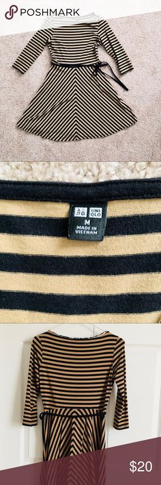 """Uniqlo Dress Size Medium Used once in great condition  3/4 Sleeves, Tan & Black Stripes  Shoulder 14"""" Pit to Pit 16"""" Waist 26/27"""" Length 34"""" Sleeve Length 16.5"""" Uniqlo Dresses"""