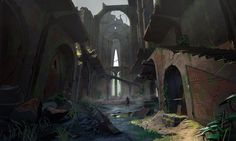 e sketches, Michel Donze : Production concept art for the game Absolver ©SloClap Art Environnemental, Virtual Art, Black And White Painting, Anime Fantasy, Environmental Art, Art Journal Pages, Game Art, Landscape Design, Cool Art