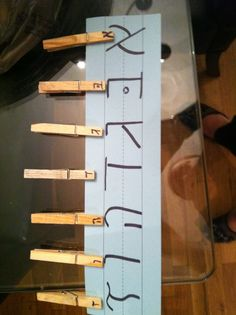 DIY Aleph Bet clothespin matching game