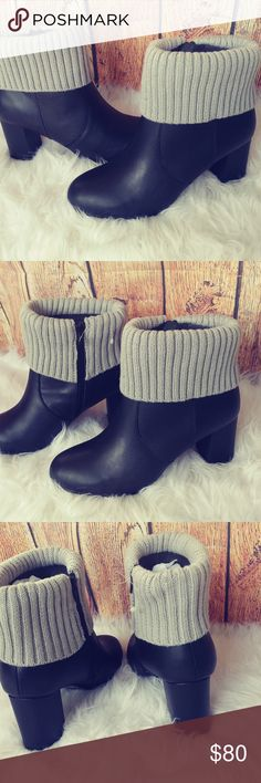 NWT Torrid winter booties size 10W NWT Torrid black winter booties size 10W. These boots are gorgeous!!! Never worn, brand new. Has one small scuff on top of shoe shown in last picture from being stored but other than that these are perfect!!! Excellent quality!! Perfect for the winter! Side zipper for easy wear. Has a grey knit overlay for style. 3 inch heel. torrid Shoes Ankle Boots & Booties