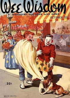 Vintage Halloween magazine.  A beagle finds his person - even in a costume! - on this Wee Wisdom magazine cover.